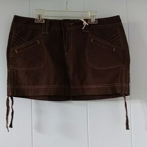 NWT LEI brown cotton skirt with side ties